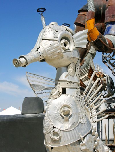 Sea horse sculpture found on El Pulpo Mechanico, Burning Man 2014.