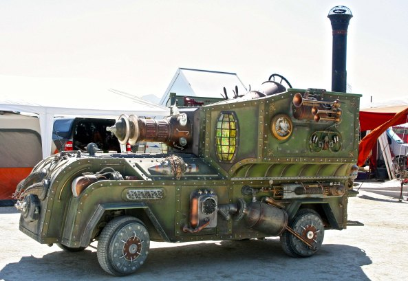 Steampunk vehicle at Burning Man 2014.