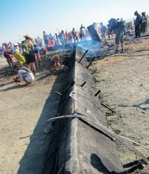Remains of the burned Man at Burning Man 2014.