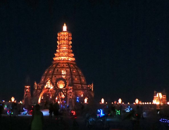 A view of the 2014 Burning Man Temple of Grace at night. Photo by Curtis Mekemson.