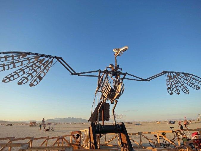 Large bird sculpture at Burning Man 2014. Photo by Curtis Mekemson.