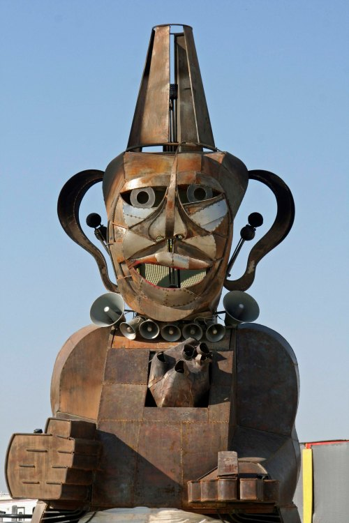 Much art at Burning Man incorporates a sense of humor. I called this guy big ears. (Photo by Peggy Mekemson.)