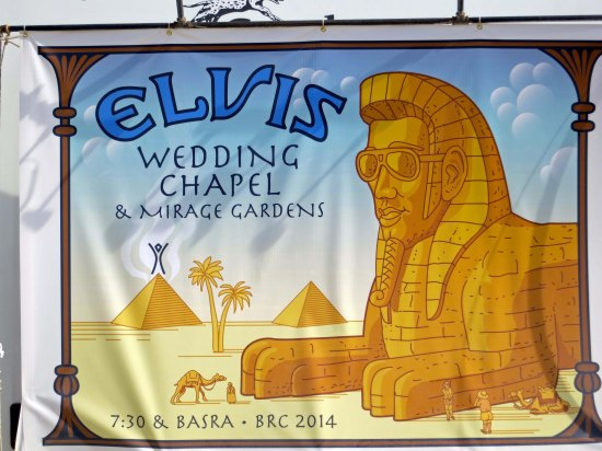 The Elvis wedding Chapel at Burning Man 2014. Photo by Curtis Mekemson.