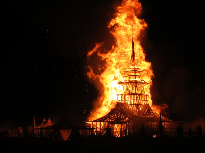 Burning of 2102 Temple of Juno designed by David Best. Photo by Curtis Mekemson.
