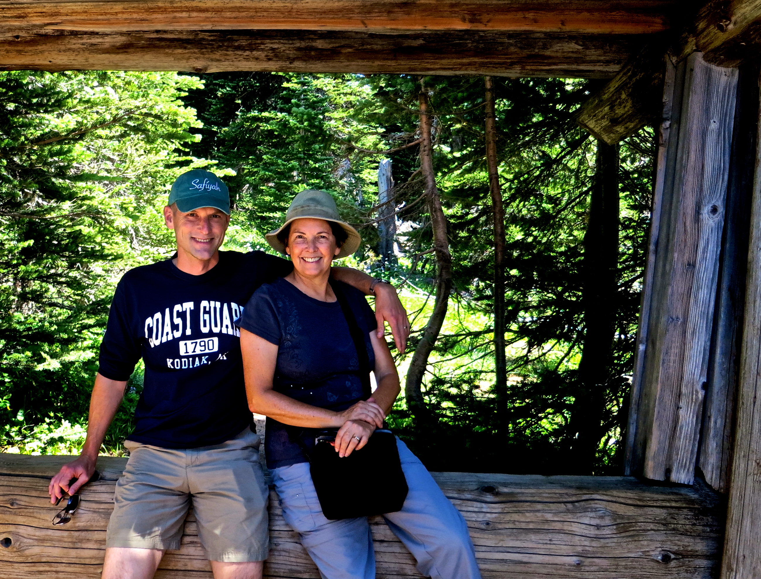 Peggy and Tony pose fro a picture near the Sunrise Visitor Center at Mt. Rainier National Park.