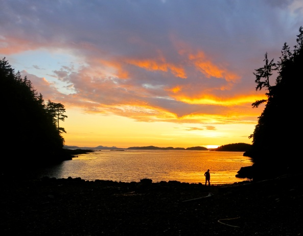 Sunset at Sea Kayak Adventure's campsite on Hanson Island in Johnstone Strait. Photo by Curtis Mekemson.