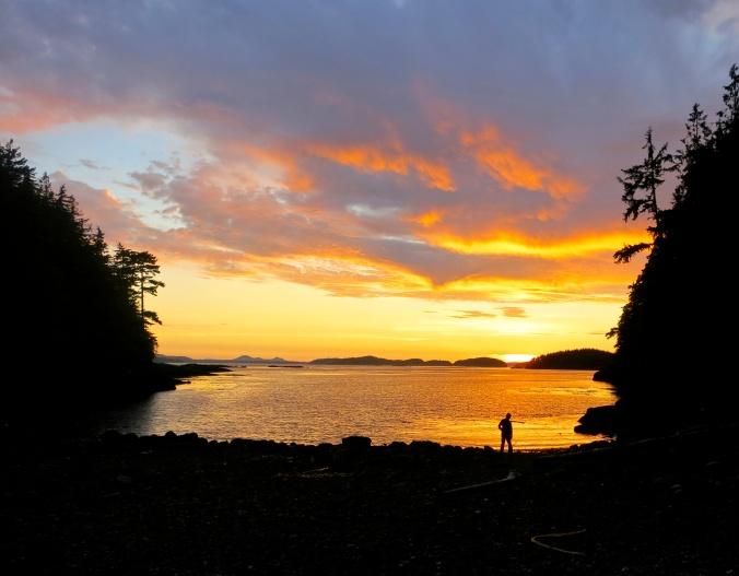 Sunset at Sea Kayak Adventure's campsite on Hanson Island in Johnstone Strait. Photo by Curtis Mekemson.