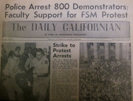 An aging copy of the Daily Cal, Berkeley's student newspaper, announces the arrests at Sproul Hall on December 4, 1964.