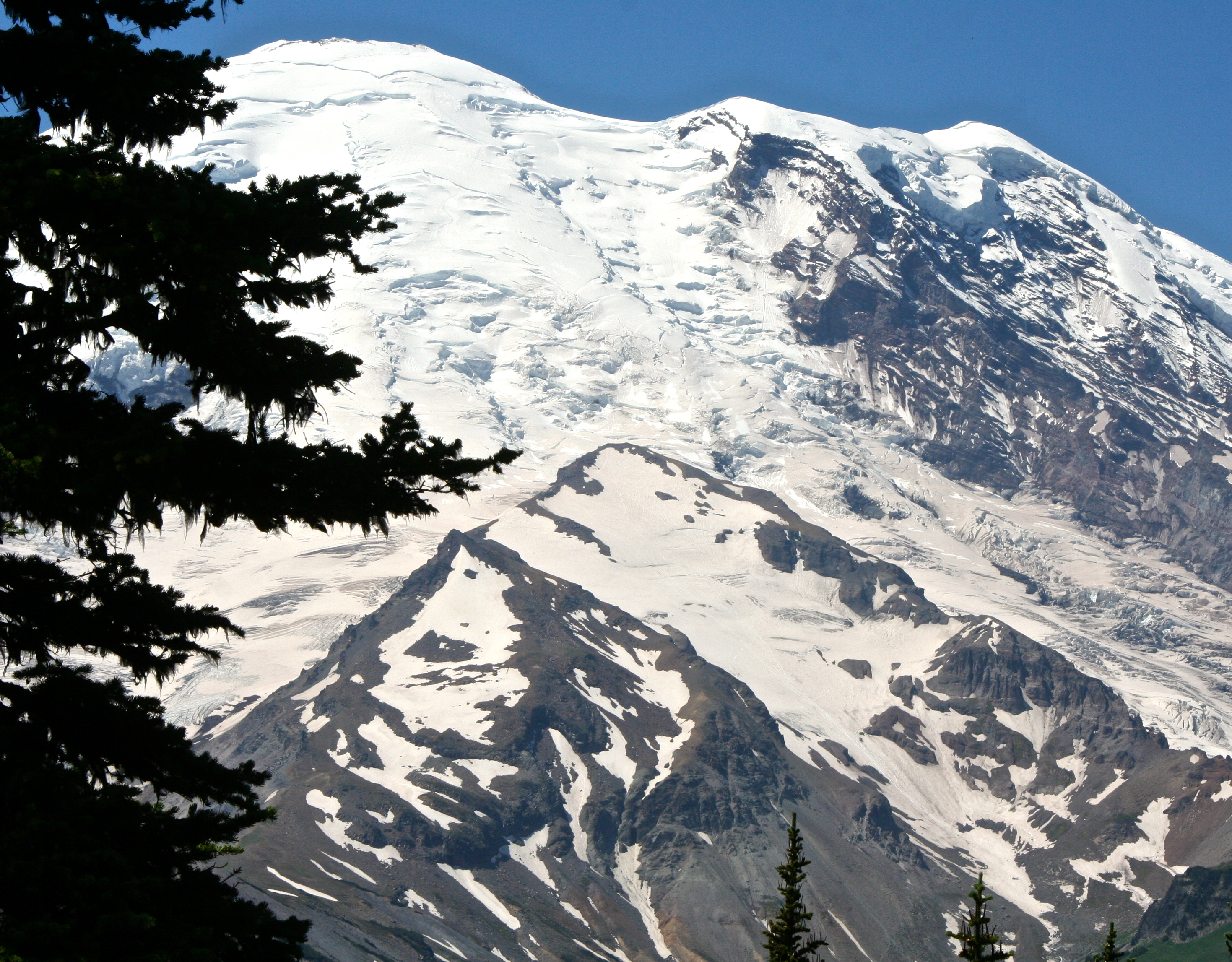 A final view of Emmons Glacier. Next Blog: A giant forest, beautiful falls, and more views of Mt. Rainier. (Photo by Peggy Mekemson.)