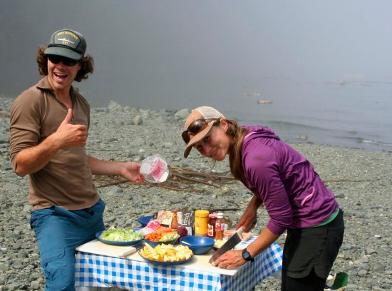 Lunch on Sea Kayak Adventures tour on the Johnstone Strait in British Columbia.