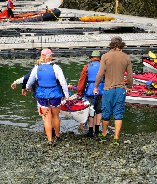 Kayaks are placed in the water at Telegraph Cove. Photo by Curtis Mekemson.