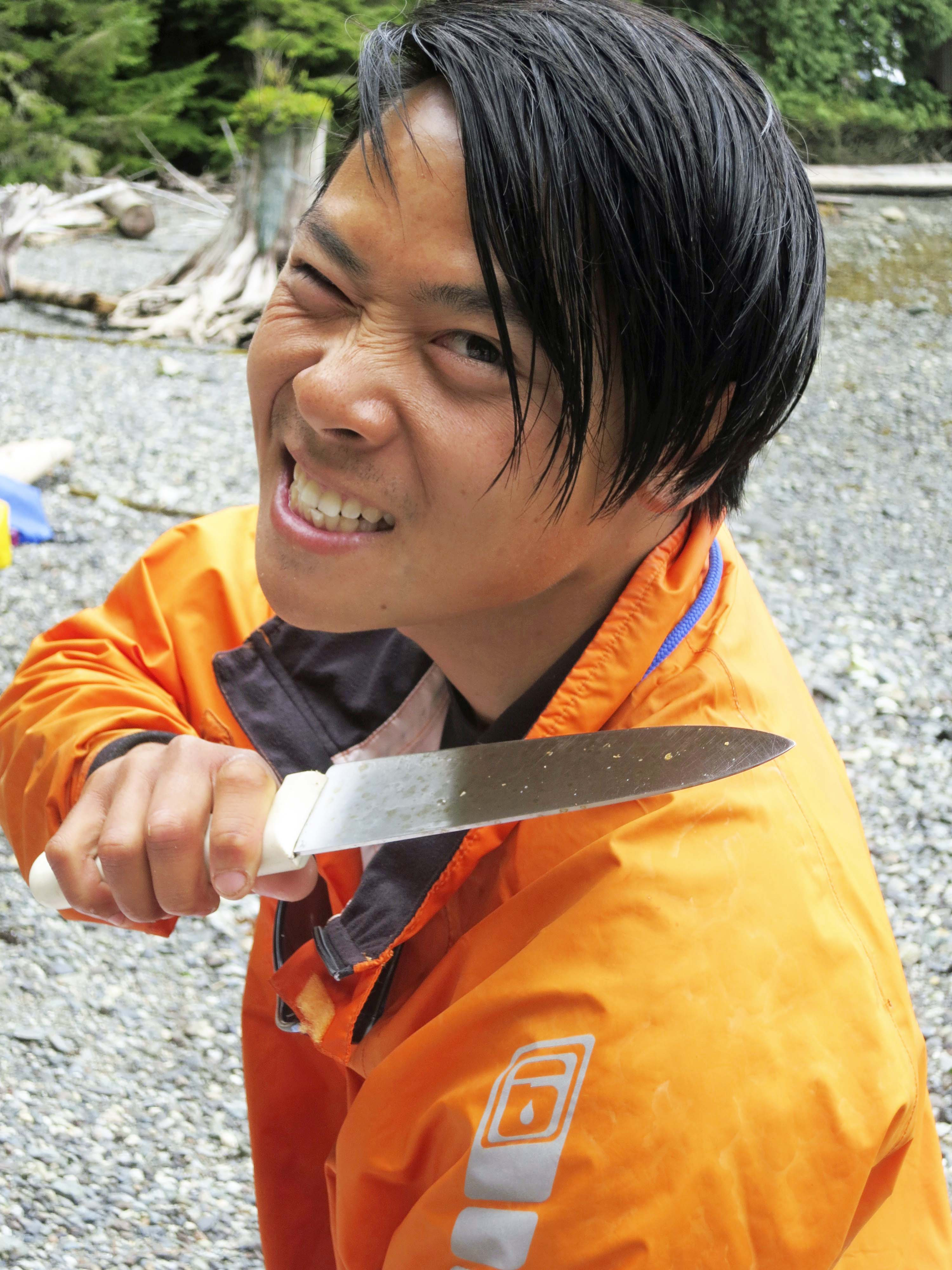 Quy, another of our guides, is a gentle soul who in his other life works as a computer geek in Vancouver. So what is he doing with this knife?