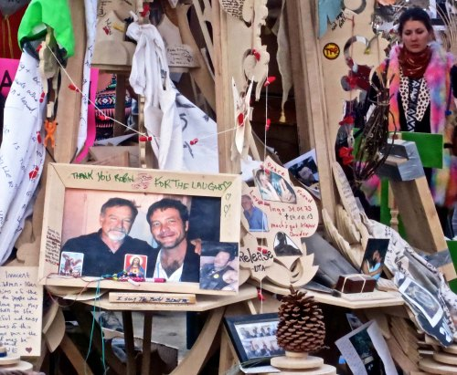 A memorial to Robin Williams at the 2014 Temple of Grace at Burning Man 2014.  Photo by Curtis Mekemson.