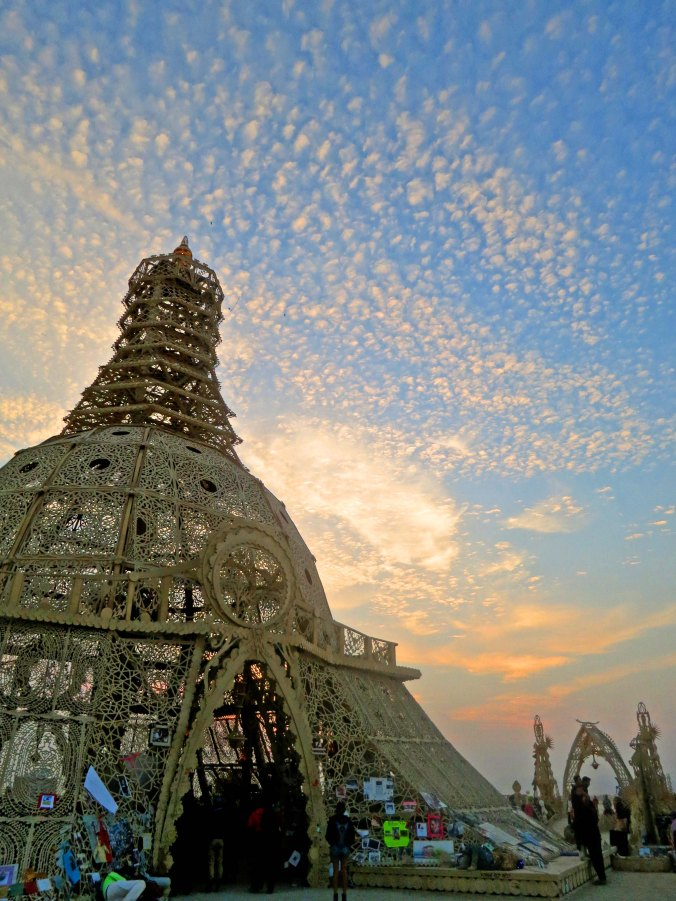Early morning photo of the Temple of Grace at Burning Man 2014. Photo by Curtis Mekemson.