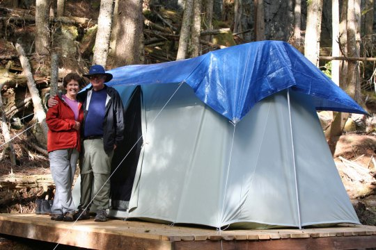 Sea Kayak Tours sets up comfortable tents for  guests to use while on their tours.