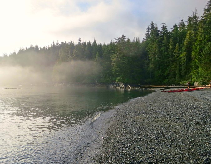 Beach at Little Kai Camp on Vancouver Island. and Johnstone Strait.