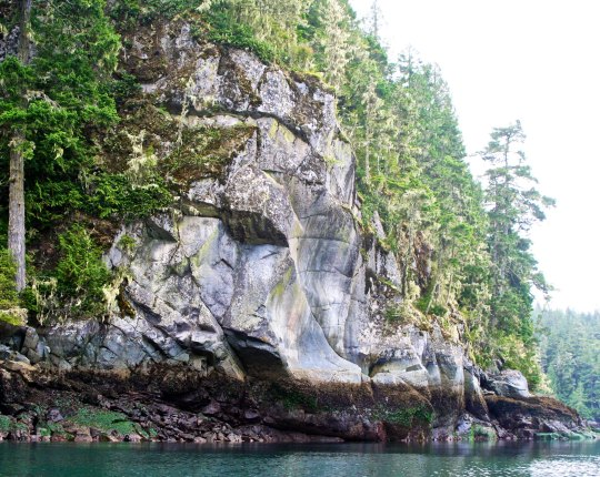 First Nation people had chosen this rock on Berry Island in Blackfish Sound, British Columbia as the location for a pictograph warning people to stay off of the island.