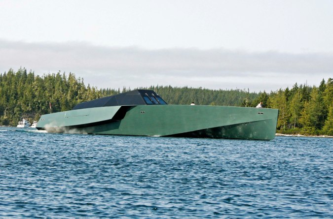 This futuristic yacht didn't look nearly as friendly as the seal. (Photo by Peggy Mekemson.)