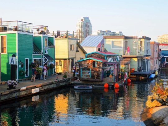 Houseboats at Fisherman's Wharf in Victoria, BC. Photo by Peggy Mekemson.