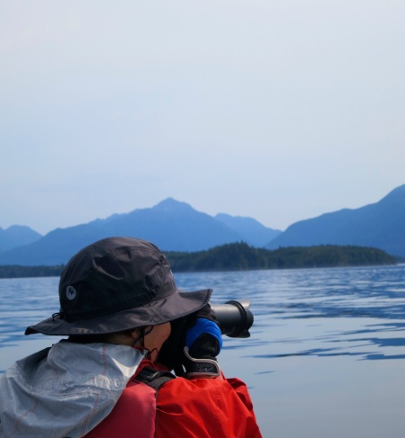 Peggy Mekemson prepared to photograph whales in Blackfish Sound, British Columbia. Photo by Curtis Mekemson.