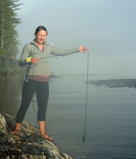 Julia drops a hydrophone into the water to see if we can pick up any orca calls. Is that a huge orca photo bombing the picture under her arm??? No, unfortunately, it was a view of a peninsula modified by Julia's shirt. I was excited for a second, though.
