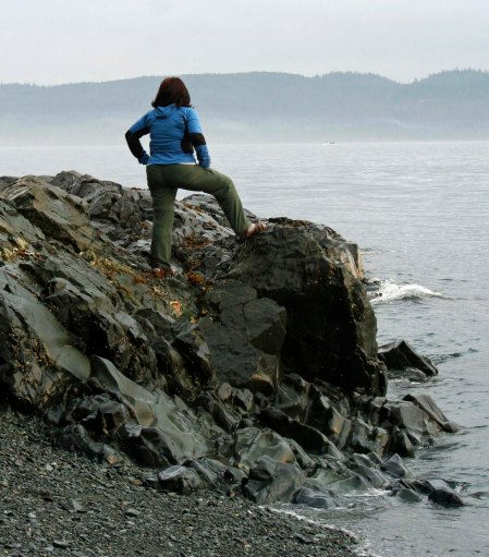Looking for orcas in Johnstone Strait, British Columbia.