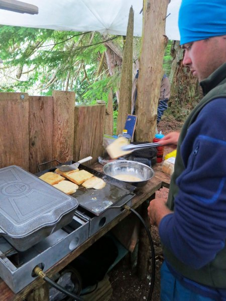 Sea Kayak Adventures provides a hearty breakfast to its sea kayakers.