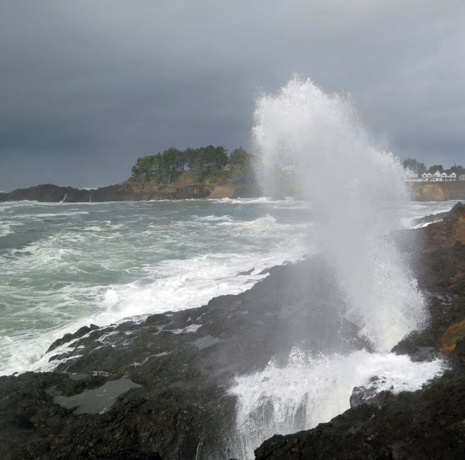 View of waves thrown into the air at Spouting Horns, Depoe Bay, Oregon. Photo by Curtis Mekemson.