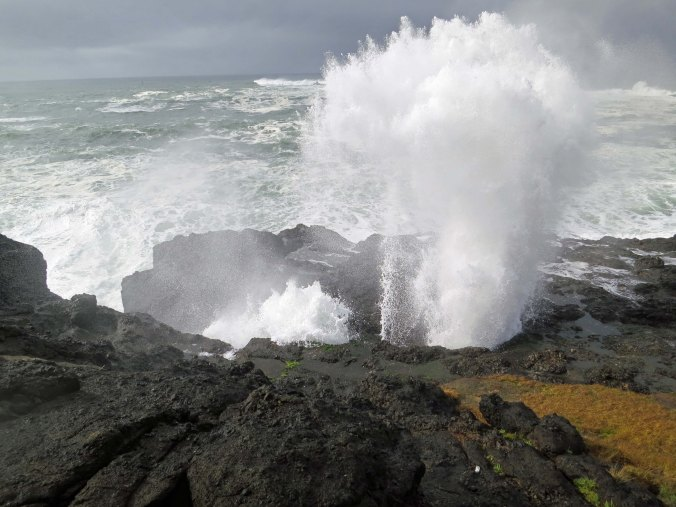 Spouting Horns at Depoe Bay shoot waves into the air. Photo by Curtis Mekemson.