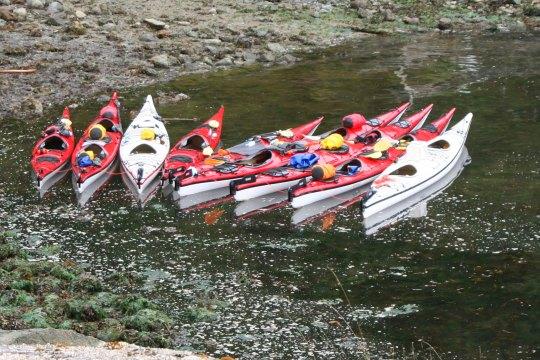 Sea kayaks of Sea Kayak Adventures waiting on Hanson Island next to Orca-Lab.