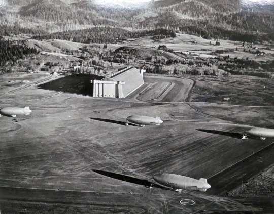 A final view of blimps arrayed outside of the Tillamook hangar during World War II.