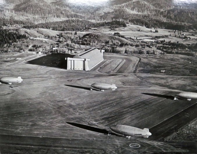 A final view of blimps arrayed outside of the Tillamook hangar during World War II.