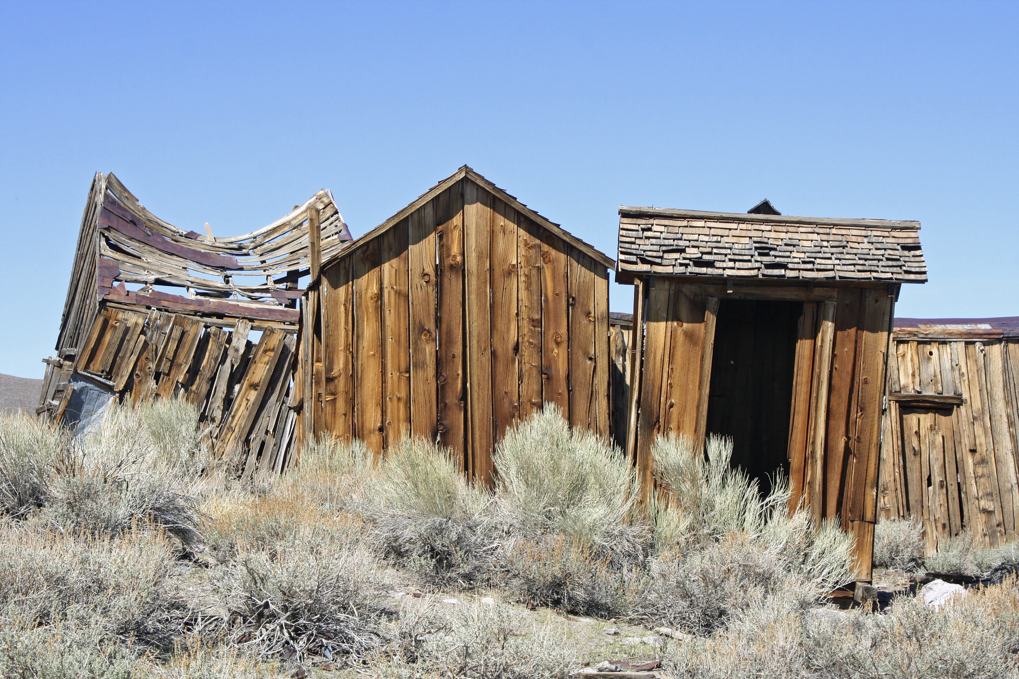 May: Weathered buildings at Bodie State Historical Park, a ghost town in Eastern California.