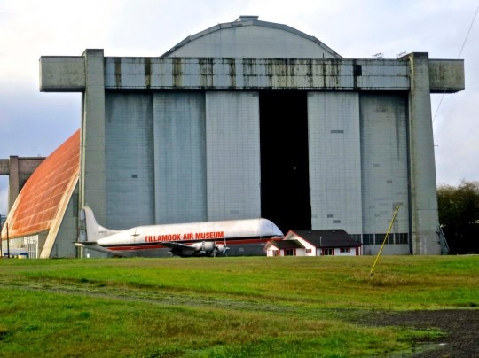 The Tillamook Air Museum shown here, served as a blimp hangar during World War II.