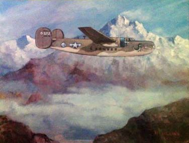 An Army Air Transport plane flies across the Hump in World War II.