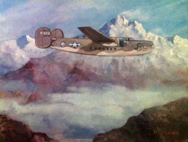 An Army Air Transport plane flies across the Hump in World War II.