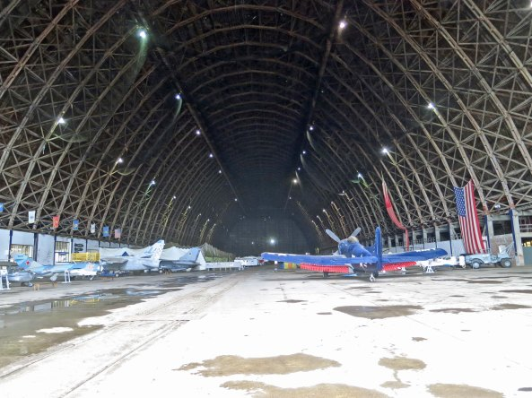 A view inside the Tillamook Air Museum that served as a blimp hangar during World War II.