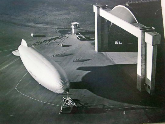 A blimp is launched from the Tillamook Air Station during World War II.