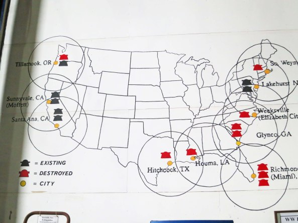 This illustration at the museum shows where blimp naval air stations were located during World War II.