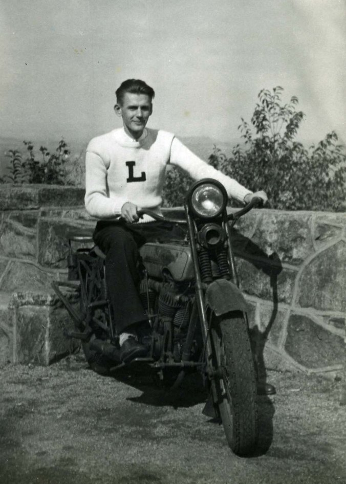 John Dallen on an Indian Motorcycle wearing his Lehigh sweater just prior to World War II.