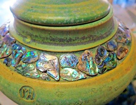 Pot incorporating abelone shells.