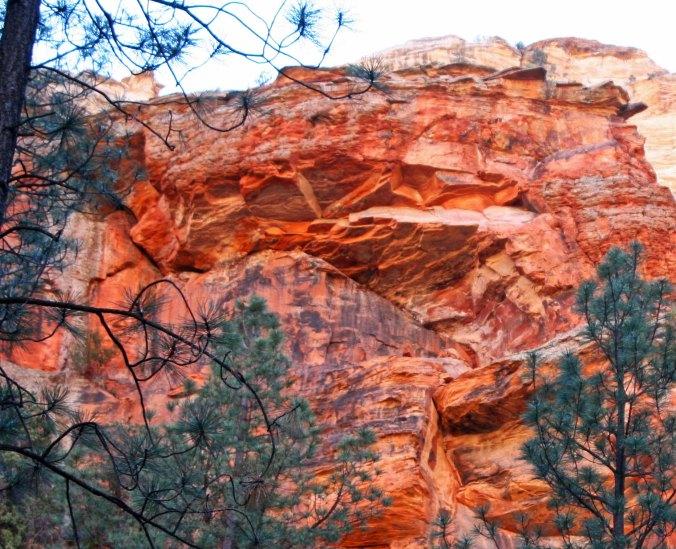 Colorful walls of Boynton Canyon, Sedona reflected in the sun.