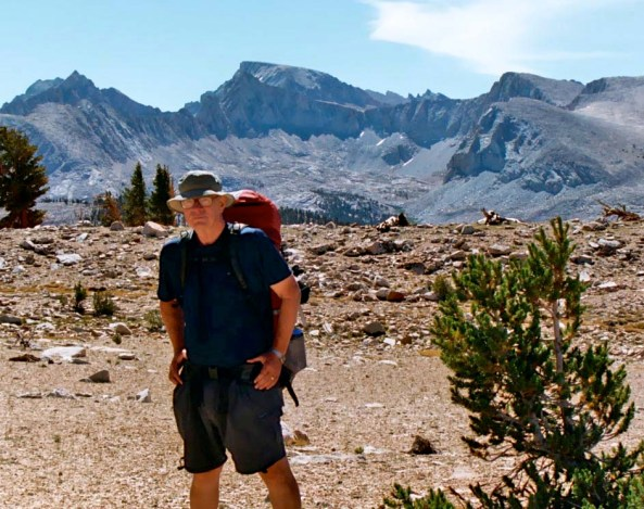 Nearing the end of my journey 360 mile backpack trek, Mt. Whitney stands in the background.