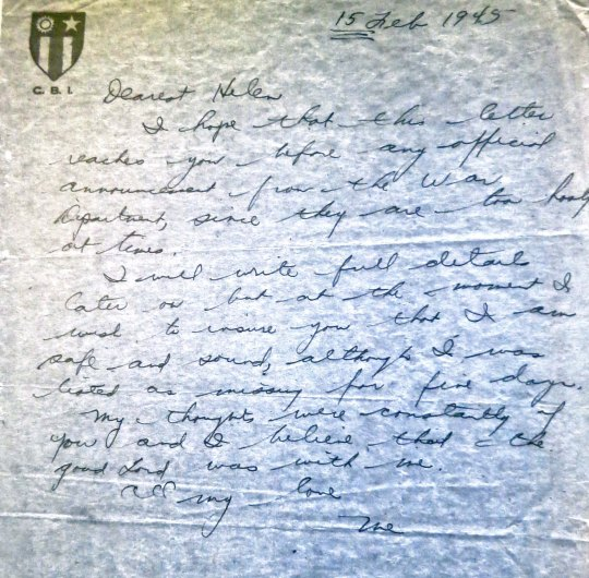 The letter tag John wrote to Helen immediately after walking out from the airplane crash.