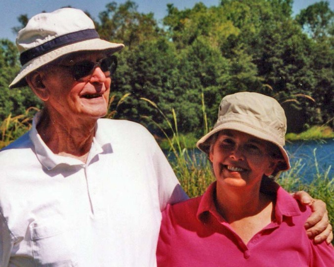John and Peggy on the American River in 2006. Every Wednesday, I was privileged to pick John up and take him for a walk on the river. Even in his late 80's, he still loved to hike.