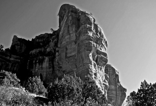 Black and white photo by Curtis Mekemson of a rock formation in Boynton Canyon.