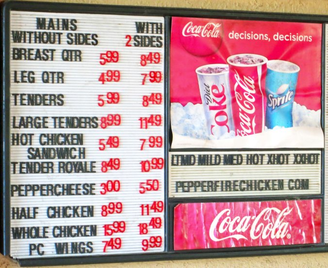 The menu listed the various levels of hot.