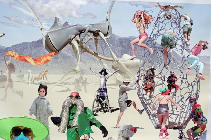 Once, when I was wandering aimlessly along the streets of Black Rock City, I came across a group that featured wonderful photo montages, including this one. Somehow or the other, it reminded me of the Burning Man ticketing process.