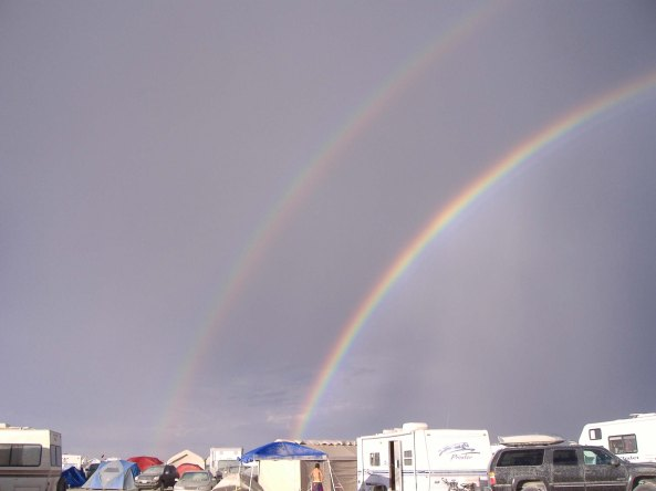 Rainbow decorates camp at Burning Man.
