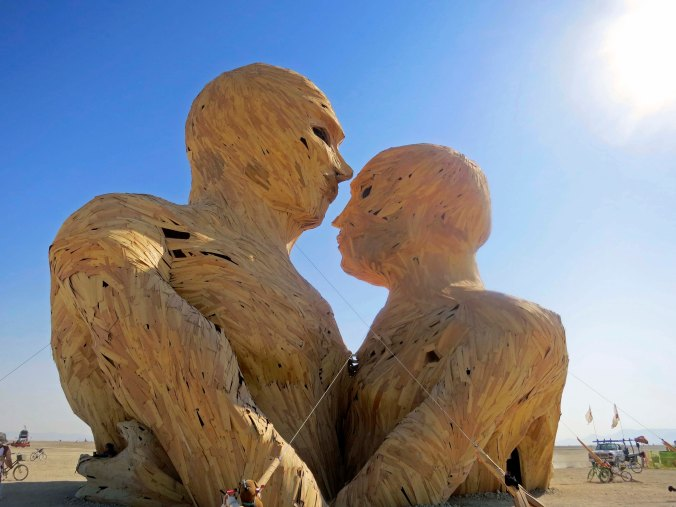 This monumental couple was featured at Burning Man in 2014. It would later be burned.